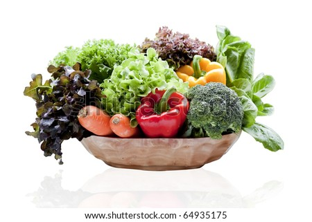 vegetables in basket  isolated - stock photo