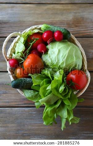 vegetables in basket top view, food - stock photo