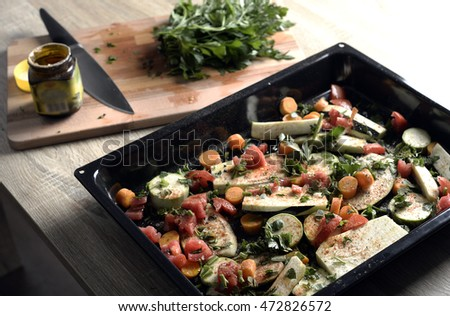 vegetables in oven in kitchen