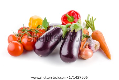 Vegetables isolated on a white background - stock photo