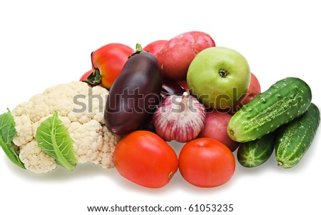 Vegetables isolated on a white background with a drop shadow
