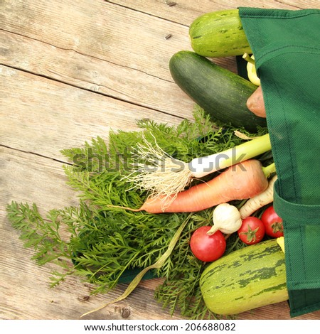 Vegetables Mixed vegetables in the bag - shopping concept - stock photo