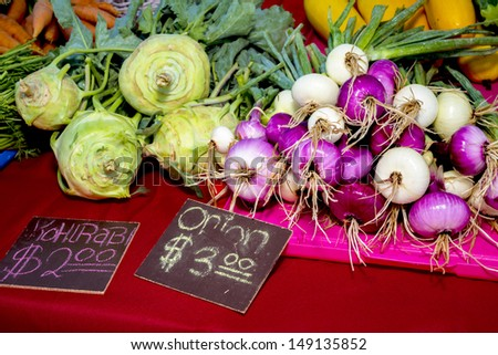 vegetables on a table for sale - stock photo