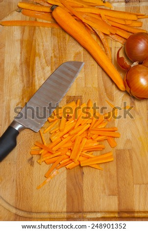 vegetables on cutting board - stock photo