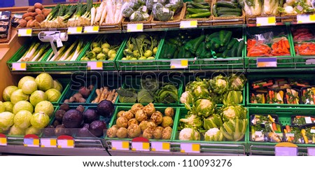 Vegetables on display in a supermarket - stock photo
