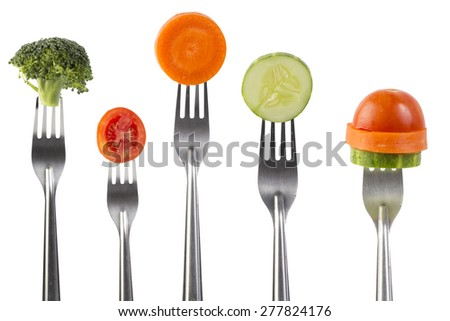vegetables on the collection of forks, diet concept