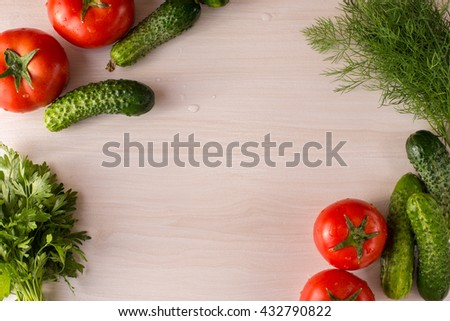 Vegetables on the table top