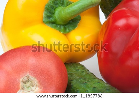 vegetables on the white isolated background.  Studio photo