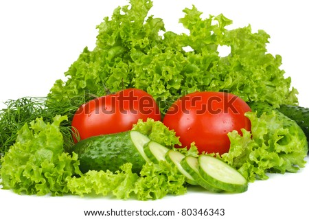 Vegetables on white background isolated