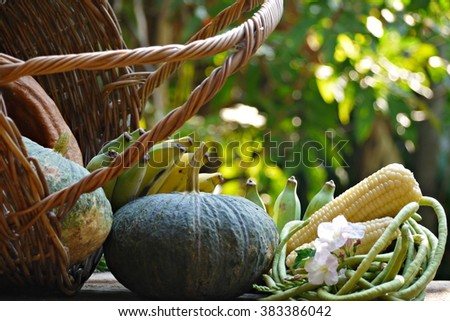Vegetables on wooden table , blurred background , soft focus . - stock photo