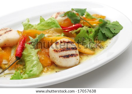 Vegetables, pepper, scallop, greens.