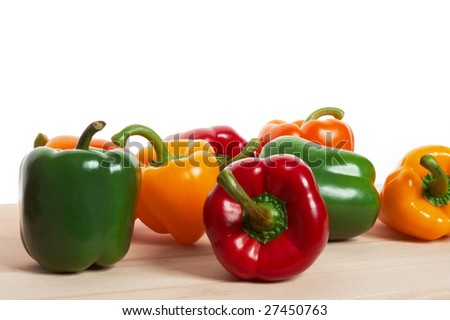 Vegetables - Peppers on white background - stock photo