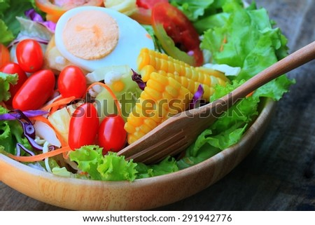 Vegetables salad eggs with mayonnaise