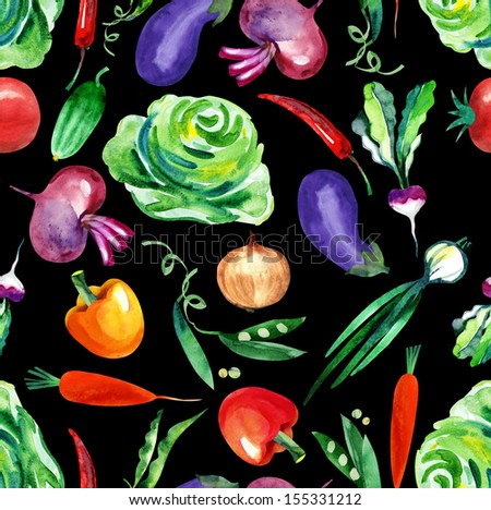 Vegetables Seamless Pattern - stock photo