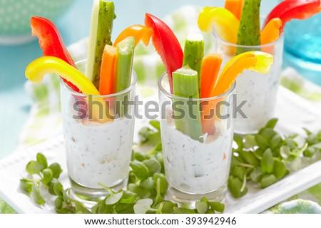 Vegetables Snacks in Yogurt - stock photo