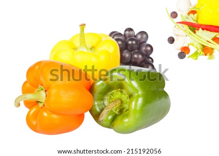 Vegetables under the white background. There is an empty for text  part of image
