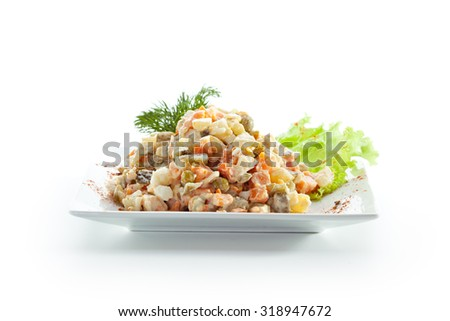 Vegetables with Meat Salad. Garnished with Dill