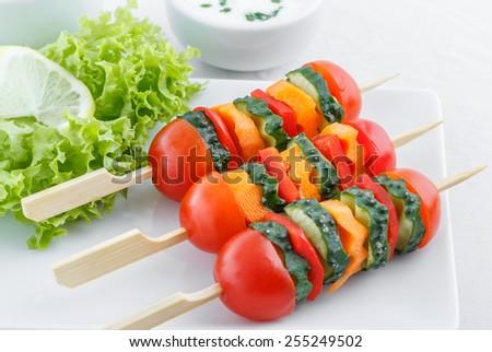 Vegetarian appetizer with garlic sauce - stock photo