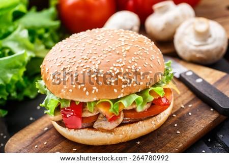 Vegetarian burger - stock photo
