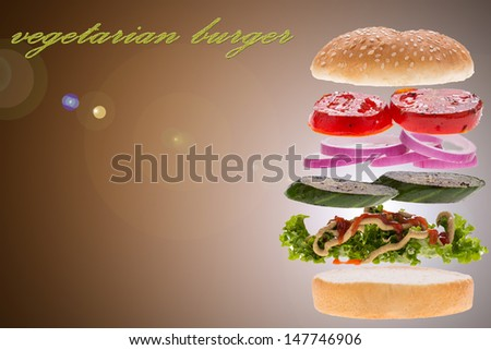 vegetarian burger concept for menu with brown background - stock photo