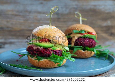 Vegetarian burger made of beetroot and chickpeas - stock photo
