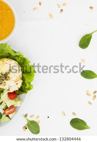 vegetarian dinner. top view, a place for an inscription - stock photo