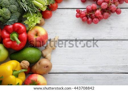 Vegetarian food and cooking concept, vegetables on boards