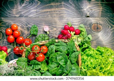 Vegetarian food - eating healthy food - stock photo