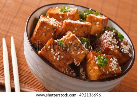 Vegetarian food: fried tofu with sesame in soy sauce in a bowl close-up. horizontal