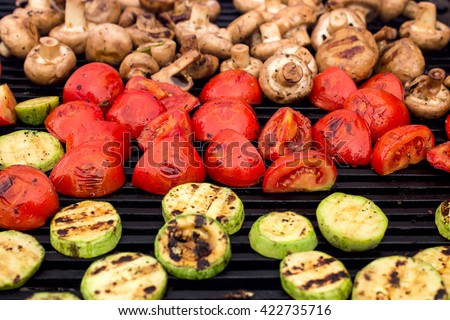 vegetarian food, grilled vegetables on the grill - stock photo