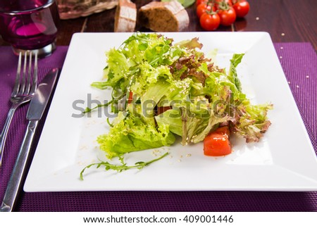 vegetarian fresh salad with lettuce,arugula,tomatoes and cucumbers - stock photo