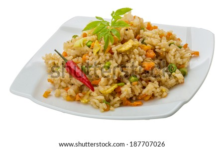 Vegetarian fried rice - asian food - stock photo