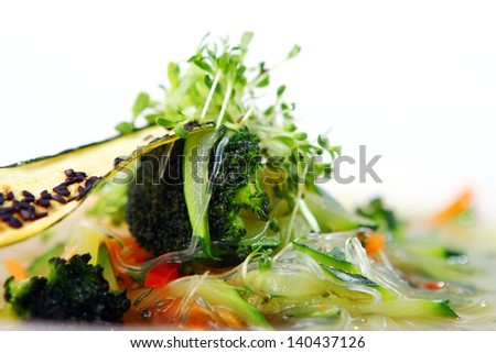 Vegetarian gourmet soup from season vegetables at restaurant - stock photo