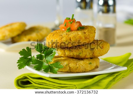 Vegetarian hamburger patties made with rice and chickpeas. - stock photo