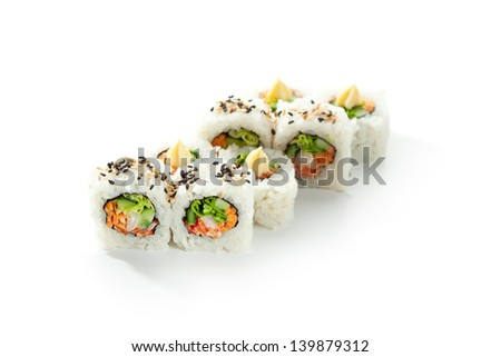 Vegetarian Maki Sushi -  Roll made of Cucumber, Bell Pepper, Salad Leaf and Carrots inside. Topped with Sesame and Cream