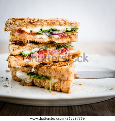 Vegetarian panini with tomatoes and mozzarella on rustic wooden table. Selective focus. - stock photo