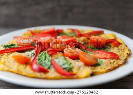 Vegetarian pizza with cauliflower crust - stock photo