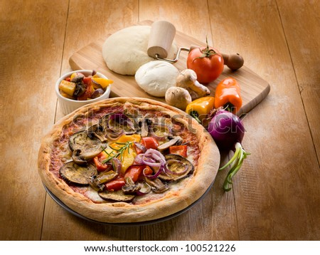 vegetarian pizza with ingredients - stock photo