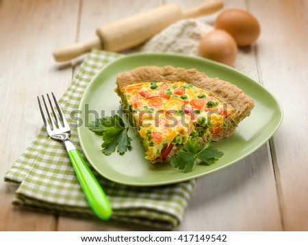 vegetarian quiche, selective focus