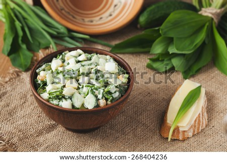 Vegetarian salad with ramson served in clay bowl with sandwich with cheese in rustic style - stock photo