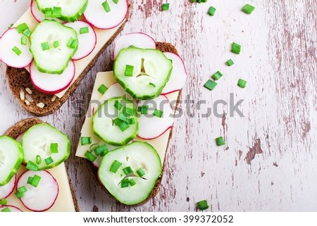Vegetarian sandwich with vegetables.top view - stock photo