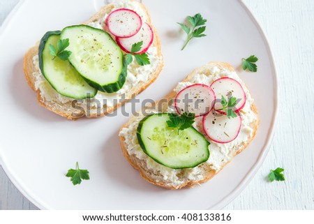 Vegetarian sandwiches with ricotta cheese and fresh vegetables  - stock photo