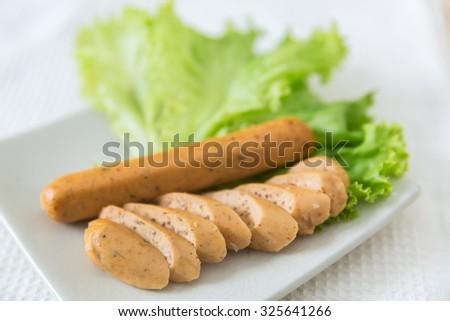 vegetarian sausage, tofu sausage- vegetarian festival - stock photo