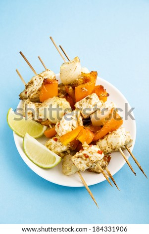Vegetarian skewers with paneer cheese, capsicum and onion - stock photo