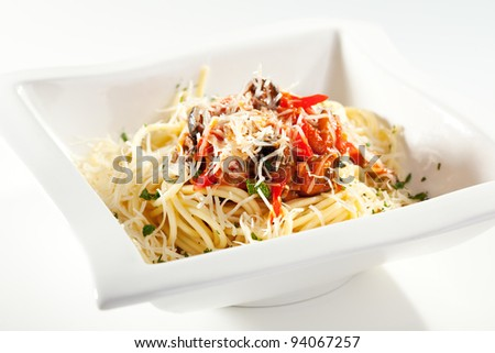 Vegetarian Spaghetti with Vegetable Julienne and Parmesan Cheese