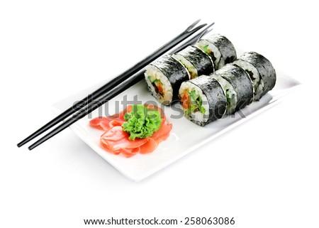 Vegetarian sushi rolls isolated on white - stock photo