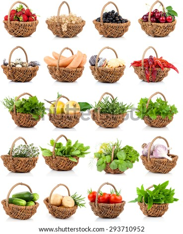 vegetation and food set in a wicker basket on a white background - stock photo