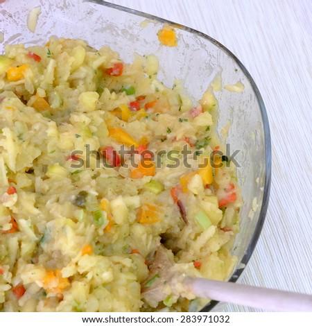 veggi potato salad 8 - stock photo