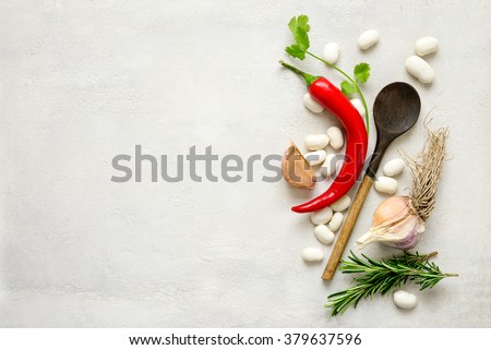 Veggie cooking concept, top view