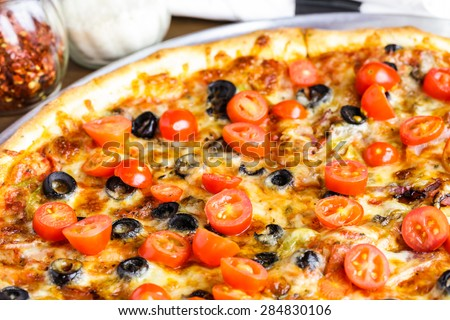 background pizza pizza vegetarian on plate pizza with bacon garlic and ...